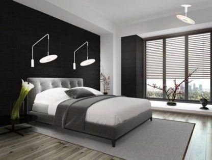 białe lampy do ciemnej sypialni aranżacja