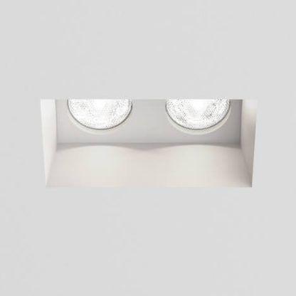 białe nowoczesne oczko sufitowe podwójne