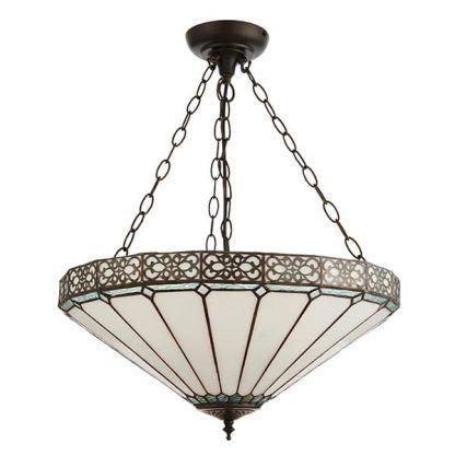 biało-brązowa lampa wisząca z witrażowym kloszem