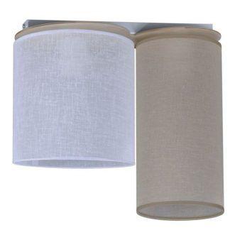 biało brązowa lampa ze spotami - abażury materiałowe
