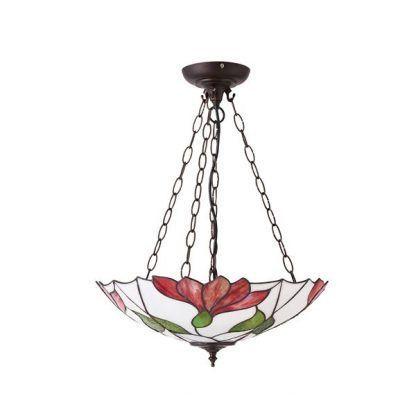 biało-czerwona lampa wisząca do salonu witrażowa
