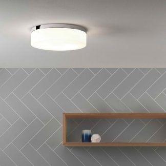 biało srebrny plafon łazienkowy - okrągły nowoczesny - aranżacja