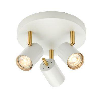 biało złota lampa sufitowa z reflektorkami do korytarza