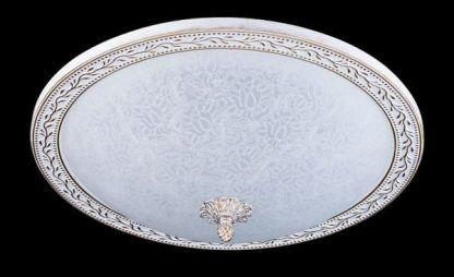 biało-złoty klasyczny plafon ze szklanym kloszem