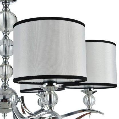 biały abażur z czarnymi obwódkami - szklane kule