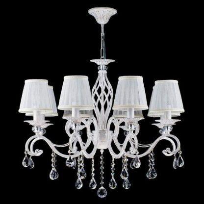 biały elegancki żyrandol klasyczny do dużego salonu