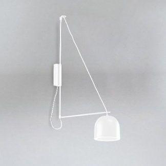 biały geometryczny kinkiet z kloszem led