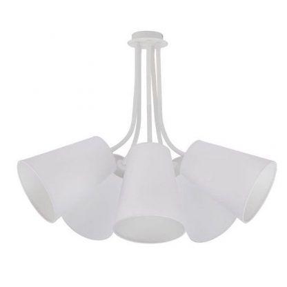 biały giętki żyrandol nowoczesny z abażurami