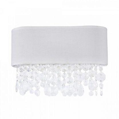 biały kinkiet glamour z łańcuchami kryształów