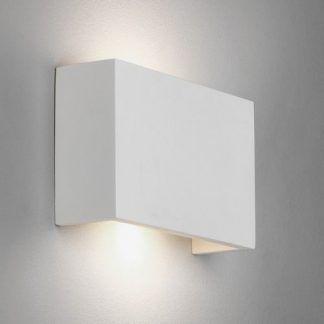 biały kinkiet nowoczesny z gipsu na korytarz