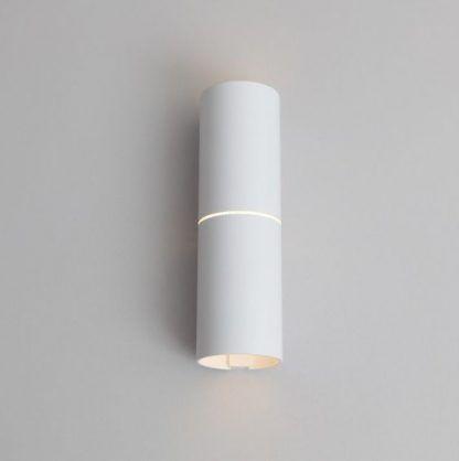 biały kinkiet tuba świecący góra dół