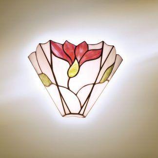 biały kinkiet w czerwone kwiaty witrażowe szkło