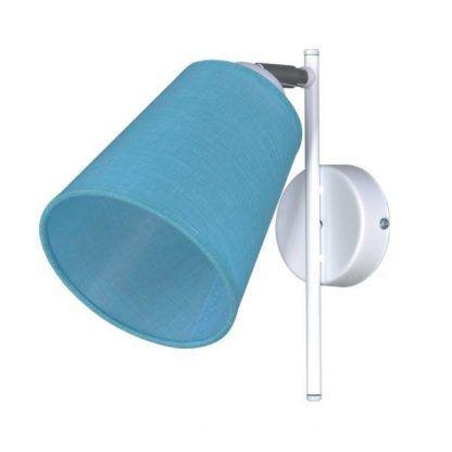 Biały kinkiet z niebieskim abażurem do pokoju dziecięcego