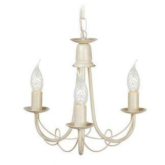 biały kuty żyrandol ze stali z drutami i świeczkami