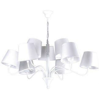 Biały nowoczesny żyrandol z 9 białymi abażurami salon