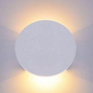 biały okrągły kinkiet z dekoracyjną poświatą