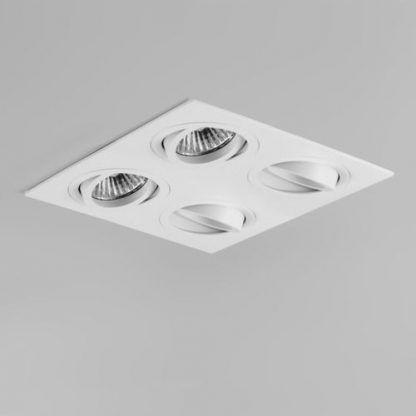 biały plafon oczka sufitowe kwadrat nowoczesny