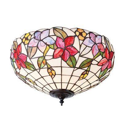 biały plafon w kolorowe kwiaty szklana mozaika