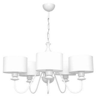 biały żyrandol na 5 żarówek, do salonu modern classic