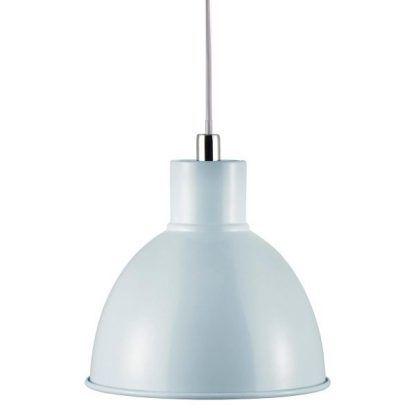 błękitna lampa wisząca metalowa scandi