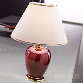 bordowa lampa stołowa z kremowym abażurem