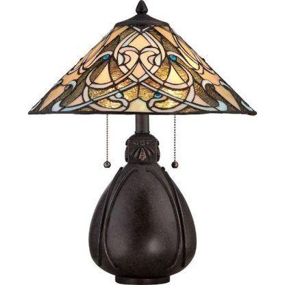 brązowa klasyczna lampa stołowa - witrażowa ze sznurkiem