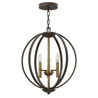 Brązowa lampa kula z ażurowym kloszem salon