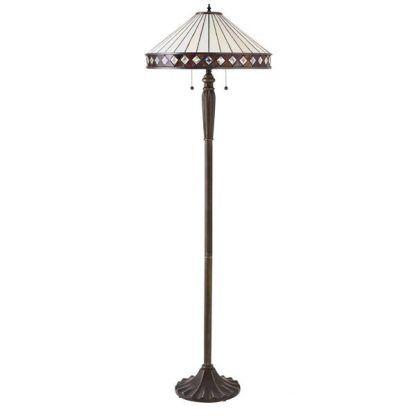 brązowa lampa podłogowa jasny witrażowy klosz