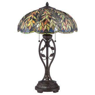 brązowa lampa stołowa klosz ze szkła witrażowego