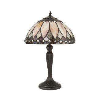 brązowa lampa stołowa witrażowy wzór na kloszu
