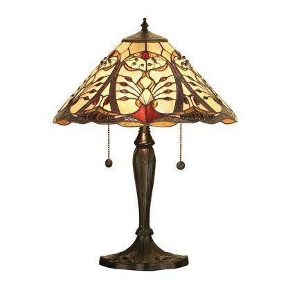 brązowa lampa stołowa z witrażowym kloszem beż