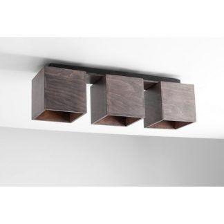 brązowa lampa sufitowa na 3 żarówki drewniana