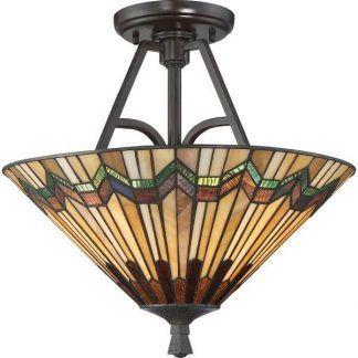 brązowa lampa sufitowa z witrażowym kloszem