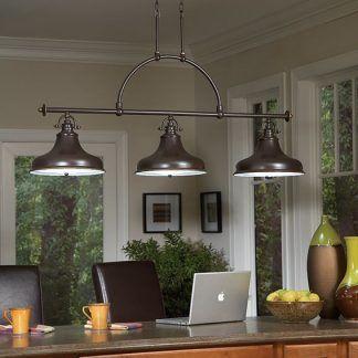 brązowa lampa wisząca do kuchni z brązowym blatem