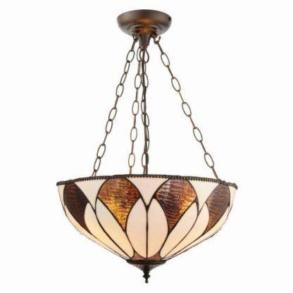 brązowa lampa wisząca klosz z witrażowego szkła