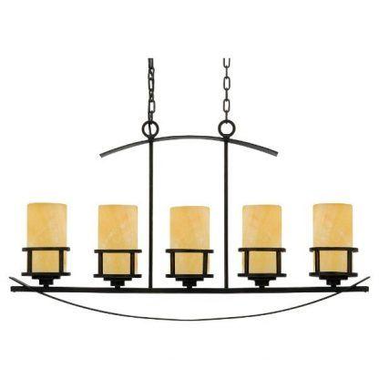 Brązowa lampa wisząca z kloszami w kształcie świec
