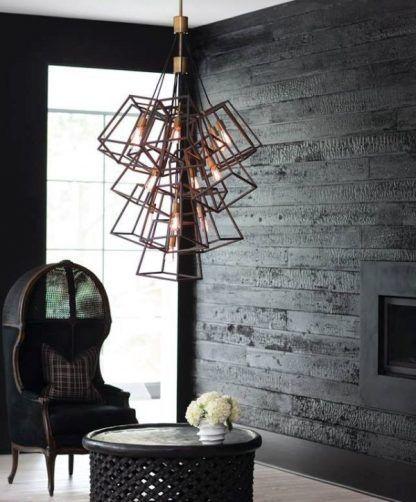 brązowa lampa wisząca z prętów szary salon