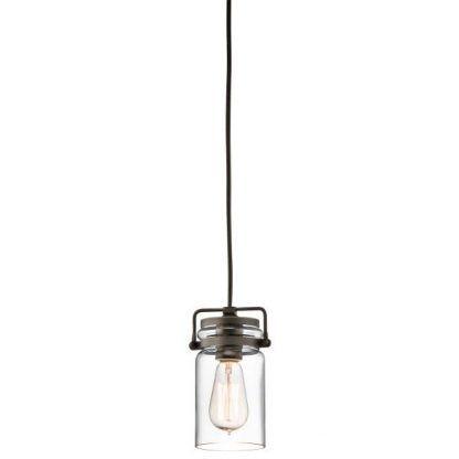 brązowa lampa wisząca ze szklanym kloszem