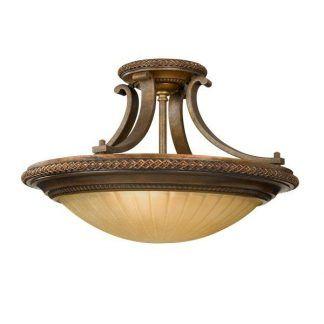 Brązowa lampa z bursztynowym kloszem salon