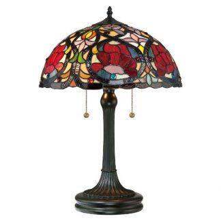 Brązowa lampa z witrażowym kloszem salon