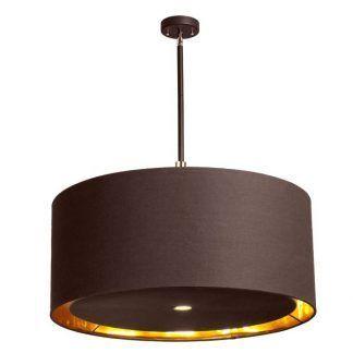brązowa okrągła lampa wisząca z abażurem