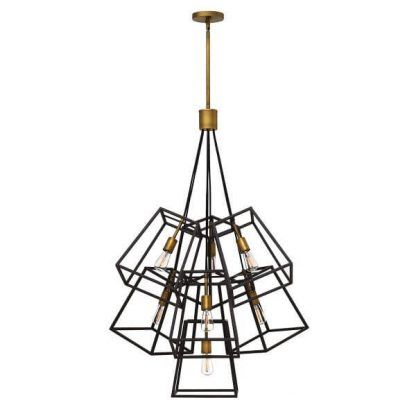 brązowo-złota lampa wisząca z metalowych prętów
