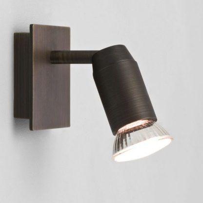 brązowy kinkiet z 1 reflektorkiem regulowanym