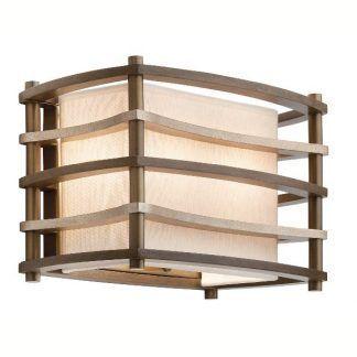 brązowy kinkiet z beżowym kloszem drewniane elementy