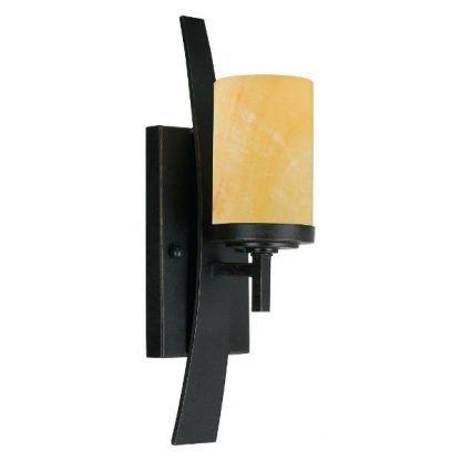 Brązowy kinkiet z podstawą na kształt świecznika sypialnia