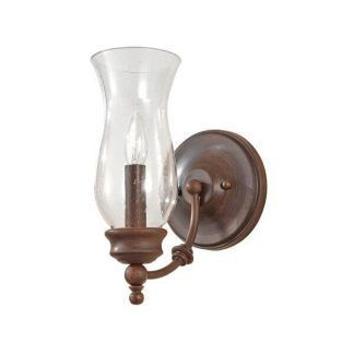 brązowy kinkiet ze szklanym kloszem klasyczny