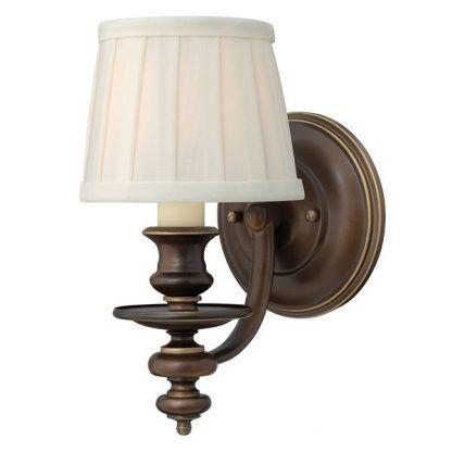 brązowy klasyczny kinkiet z abażurem do dębowych mebli