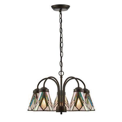 brązowy żyrandol z witrażowymi lampionami