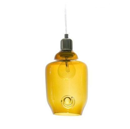 bursztynowa lampa wiszaca z szklanym kloszem
