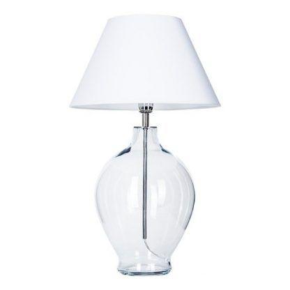 cała biała lampa stołowa - elegancka sypialnia
